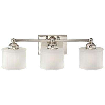 bathroom vanity light fixture. 3-light polished nickel bath light bathroom vanity fixture i