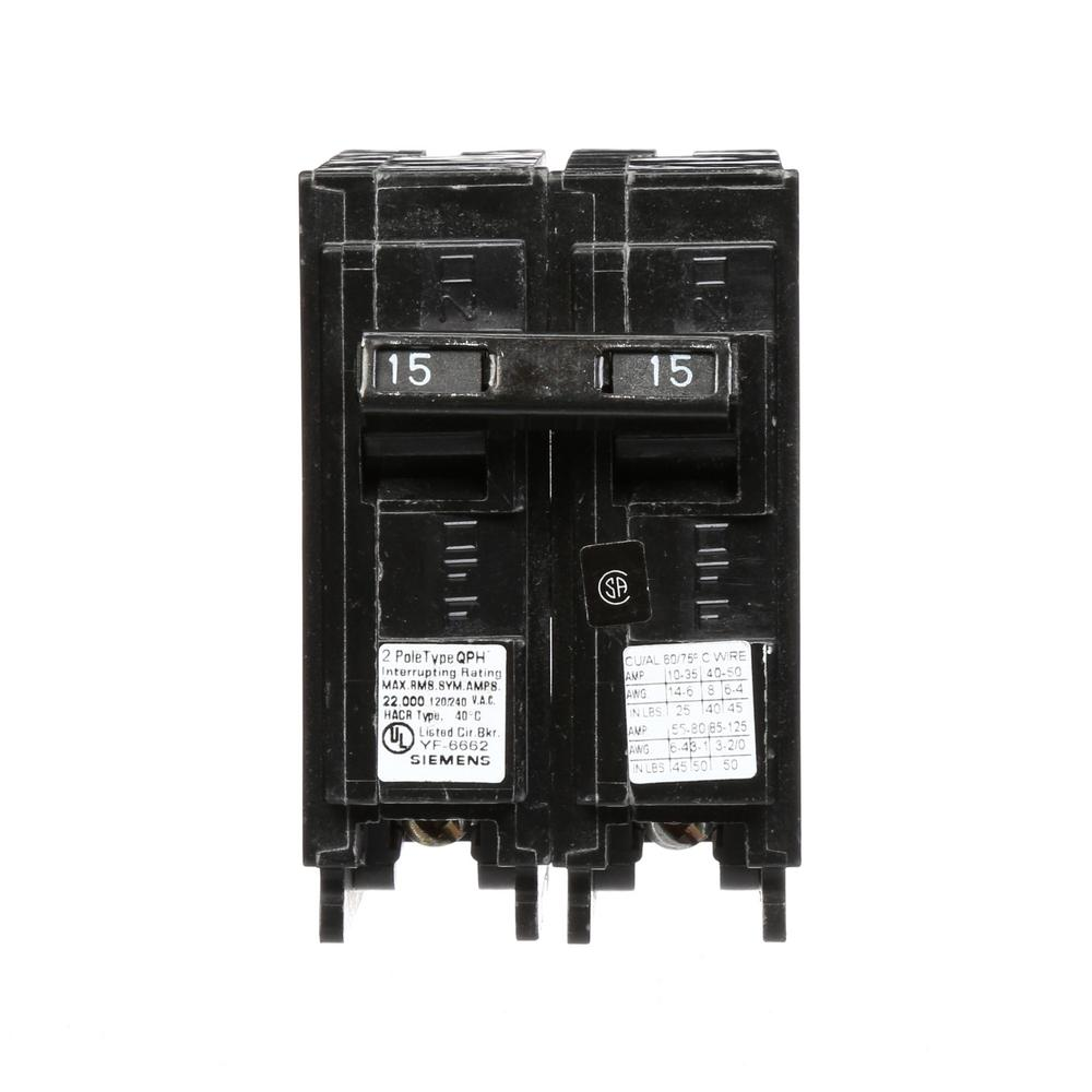15 Amp 2-Pole QPH 22 kA Circuit Breaker