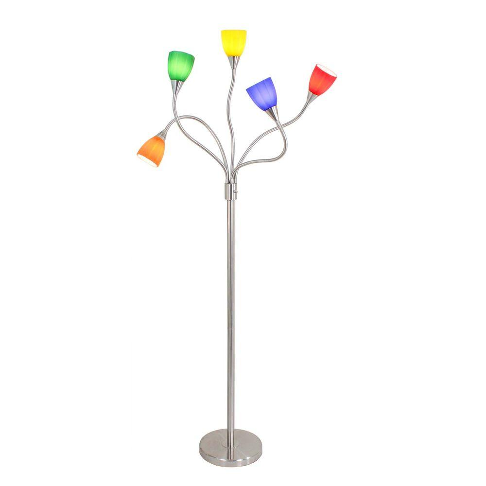 Silver Gooseneck Indoor Floor Lamp With Colored Gl Sconces