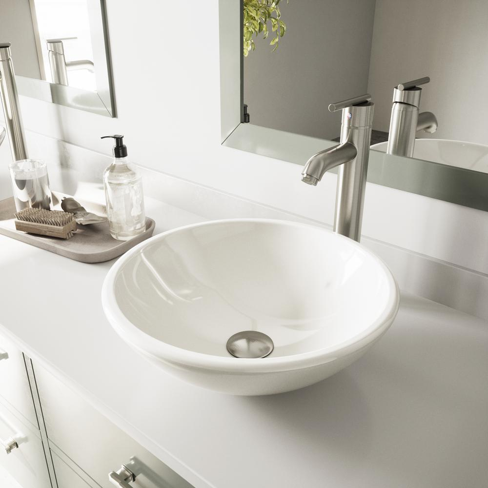 Vigo Phoenix Stone Glass Vessel Sink In White With Faucet In Brushed
