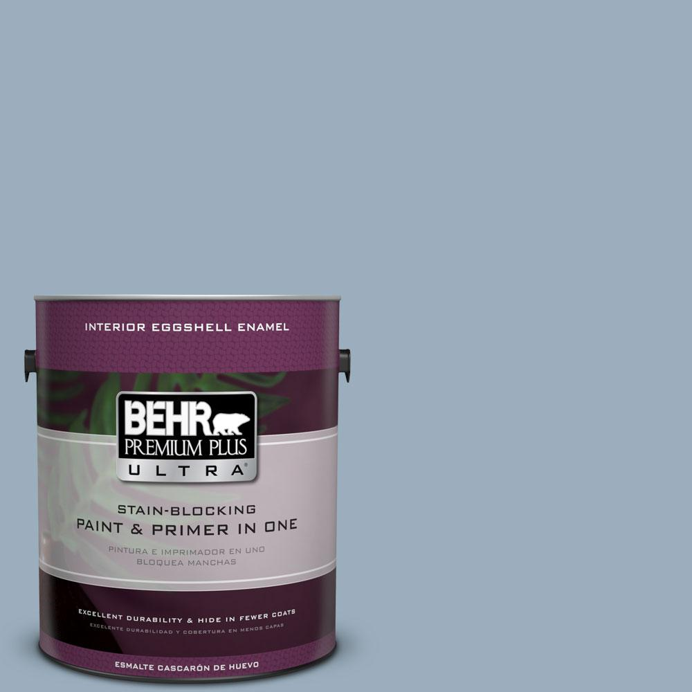 1 gal. #560F-4 Russian Blue Eggshell Enamel Interior Paint and Primer