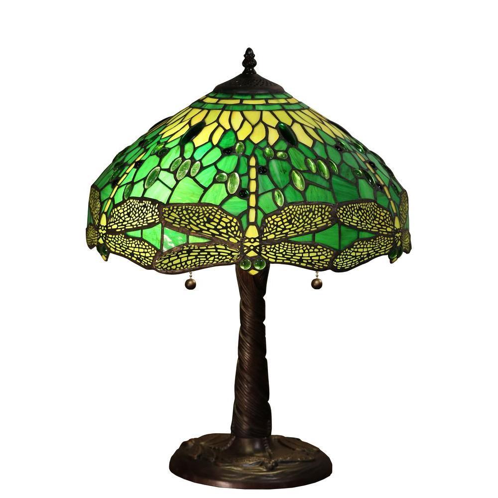 Magnus 22 In Bronze Indoor Table Lamp With Green