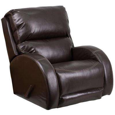 Contemporary Ty Brown Leather Rocker Recliner
