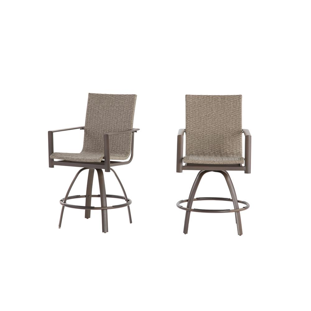 Beckham 2-Pack Swivel Wicker Balcony Height Outdoor Bar Stool