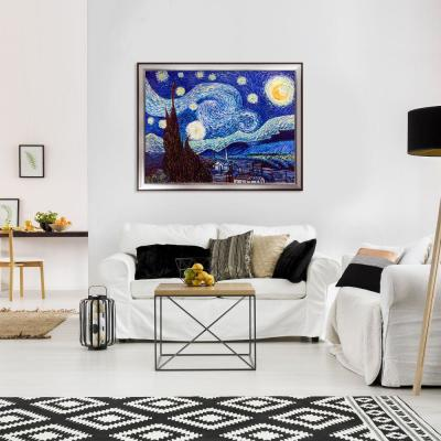 "53 in. x 41 in. ""Starry Night with Magnesium Silver Frame"" by Vincent Van Gogh Framed Wall Art"
