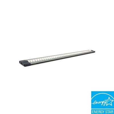 SNAP 3-Watt 12 in. LED Grey Under Cabinet Linkable Light with 6-Watt Plug-in Power Supply