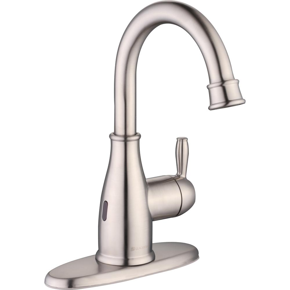 GLACIER BAY Mandouri Touchless Single Hole Single-Handle High-Arc Bathroom Faucet in Brushed Nickel