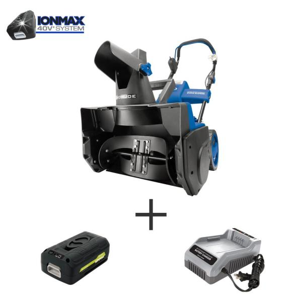 18 in. 40-Volt Single-Stage Cordless Electric Snow Blower Kit with 4.0 Ah Battery + Charger