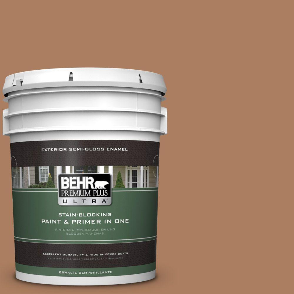 BEHR Premium Plus Ultra 5-gal. #S230-6 Burnt Toffee Semi-Gloss Enamel Exterior Paint