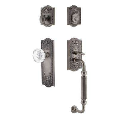 Meadows Plate 2-3/8 in. Backset Antique Pewter F Grip Handleset Crystal Meadows Door Knob
