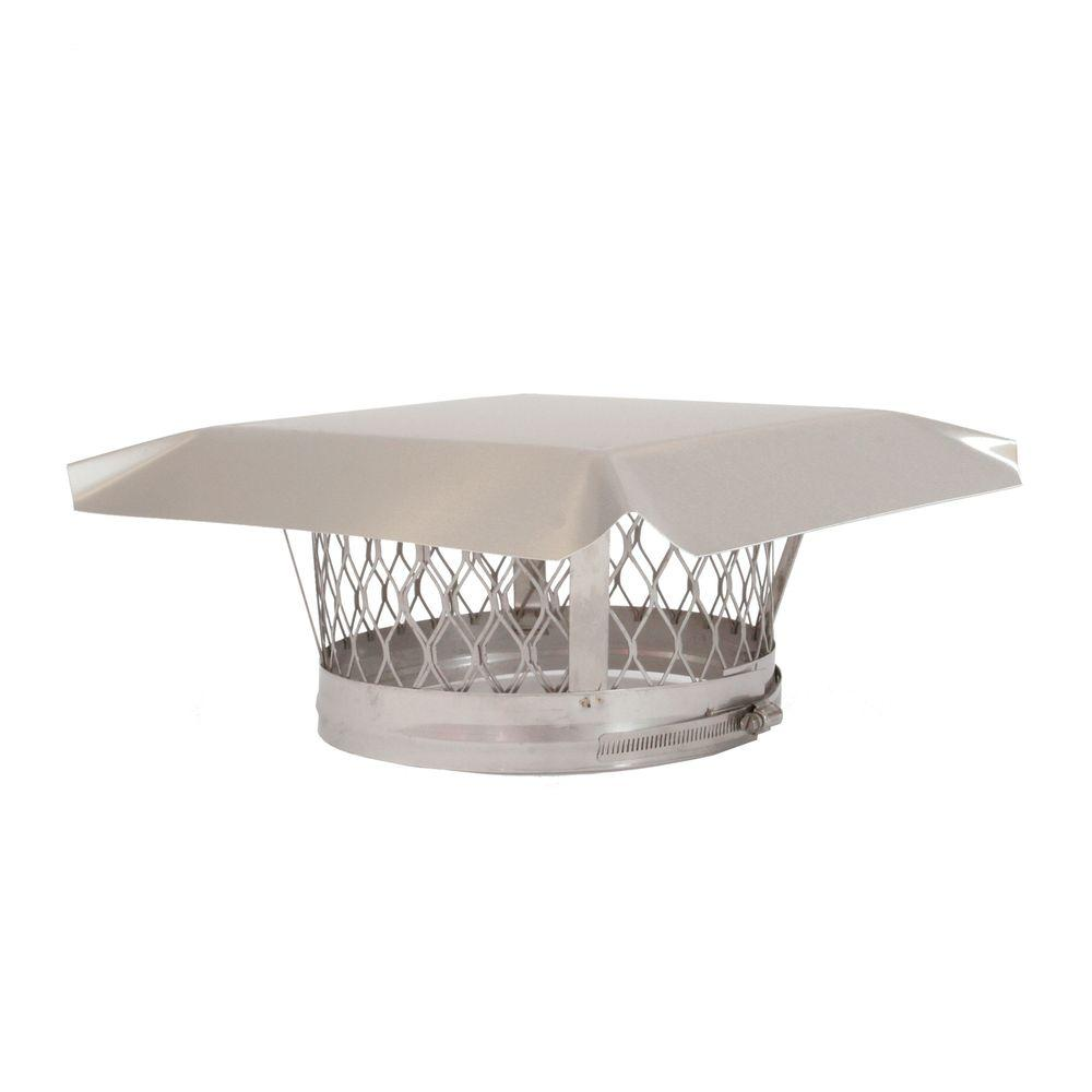 HY-C 4 in. Round Clamp-On Single Flue Liner Chimney Cap in Stainless Steel