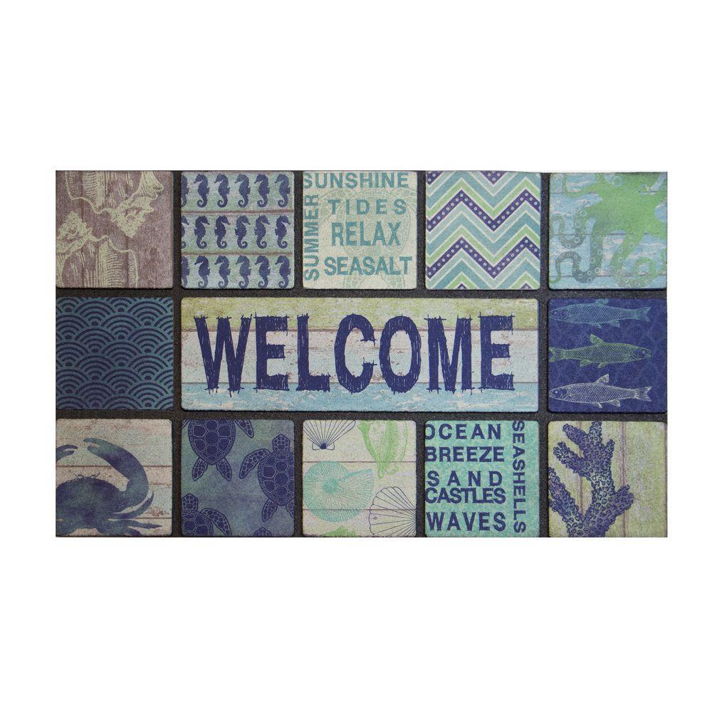 Welcome Blue 18 in. x 30 in. Rubber Door Mat