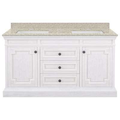 Cailla 61 in. W x 22 in. D Bath Vanity in White Wash with Engineered Quartz Vanity Top in Sedona with White Sinks