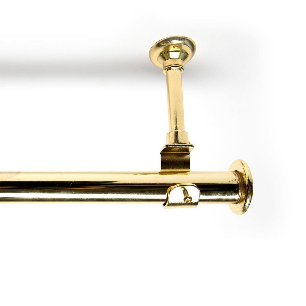 RoomDividersNow 36 in. - 56 in. Hanging Single Curtain Rod With Brackets in Gold