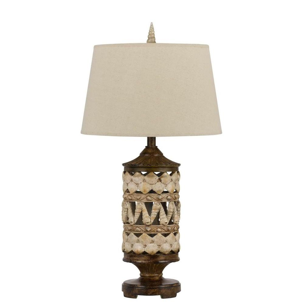 CAL Lighting 31 in. Pearl White/Earth Seashell Table Lamp