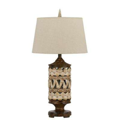 31 in. Pearl White/Earth Seashell Table Lamp