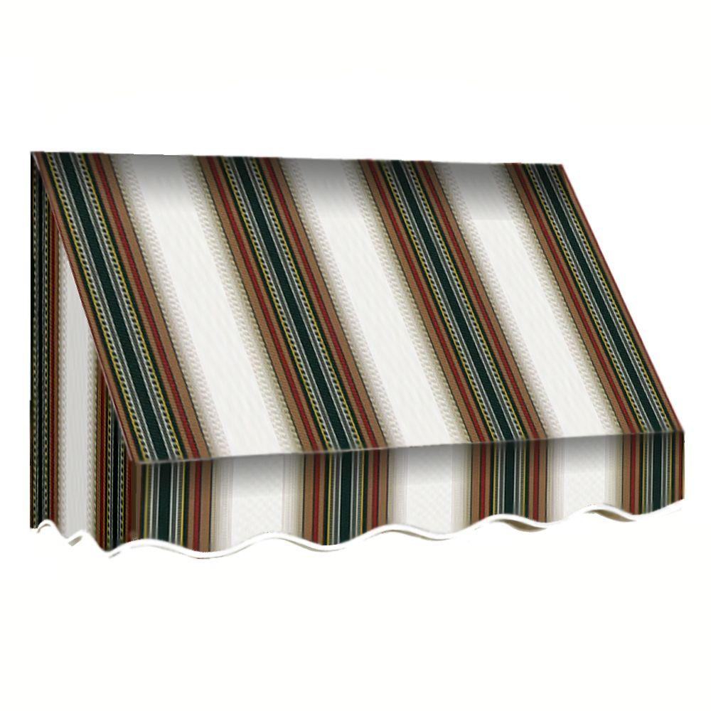 AWNTECH 40 ft. San Francisco Window/Entry Awning (56 in. H x 48 in. D) in Burgundy/Forest/Tan Stripe