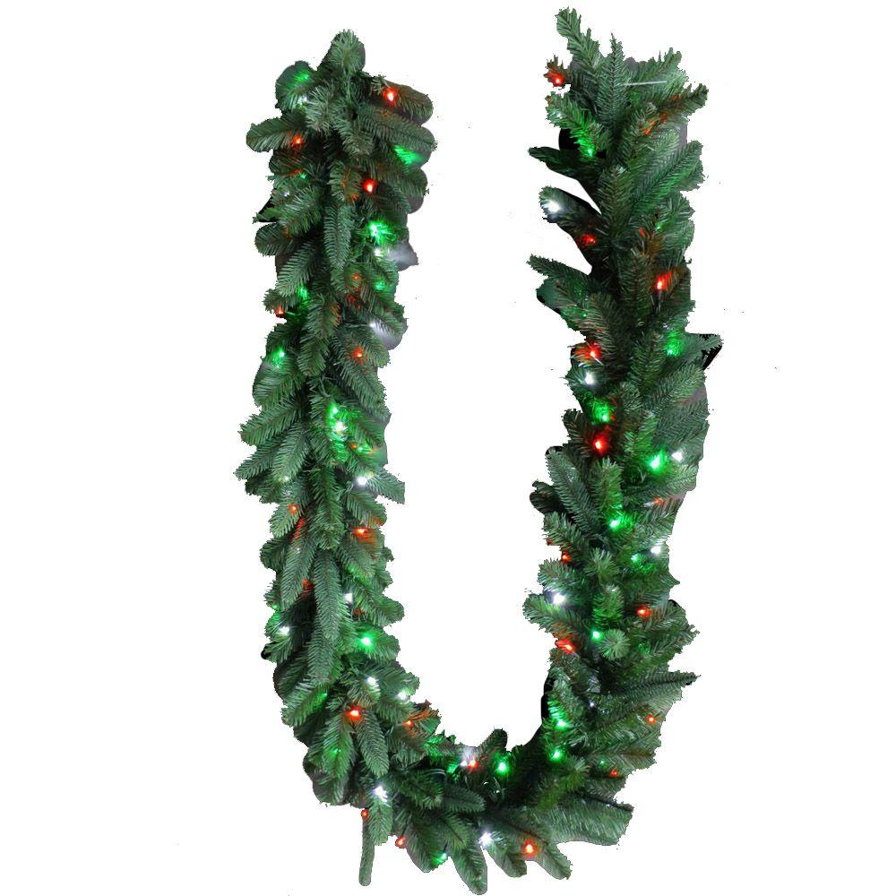 royal grand spruce artificial garland with redgreenpure white lights