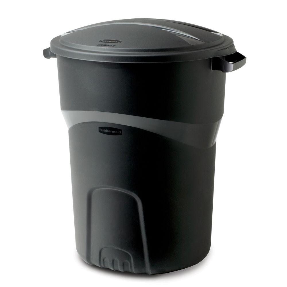 Rubbermaid Roughneck 32 Gal Black Round Trash Can With Lid 2008186