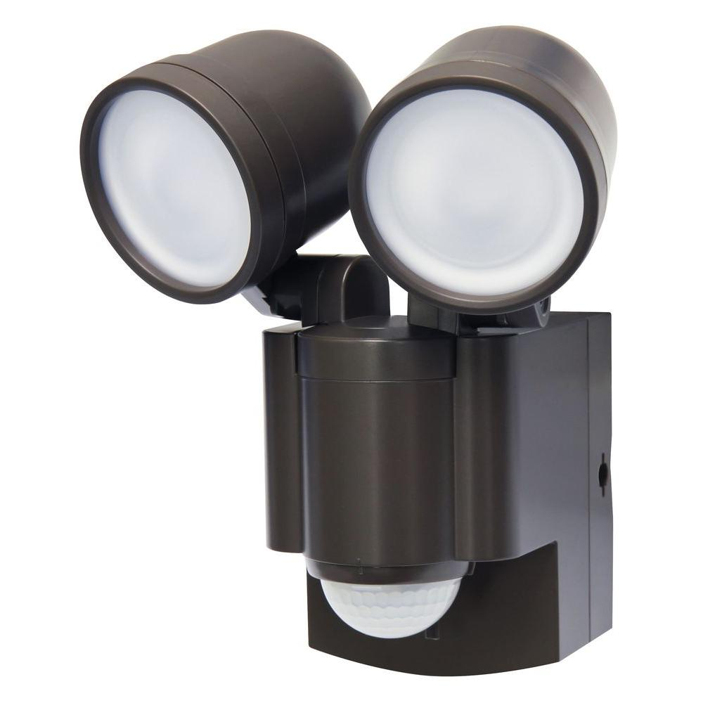 Iq America Bronze Motion Activated Outdoor Integrated Led Twin Flood Light