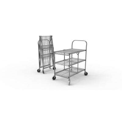33.75 in. x 19.5 in. 3-Shelf Collapsible Wire Utility Cart in Silver