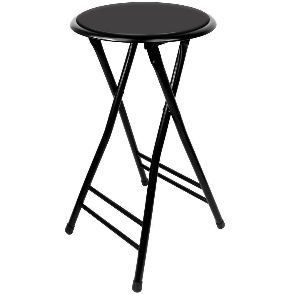 Pleasing 24 In Black Cushioned Folding Stool 300Lb Weight Limit Uwap Interior Chair Design Uwaporg
