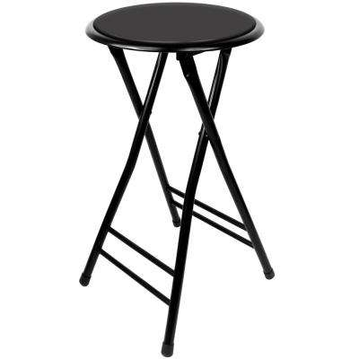 24 in. Black Cushioned Folding Stool 300lb Weight Limit