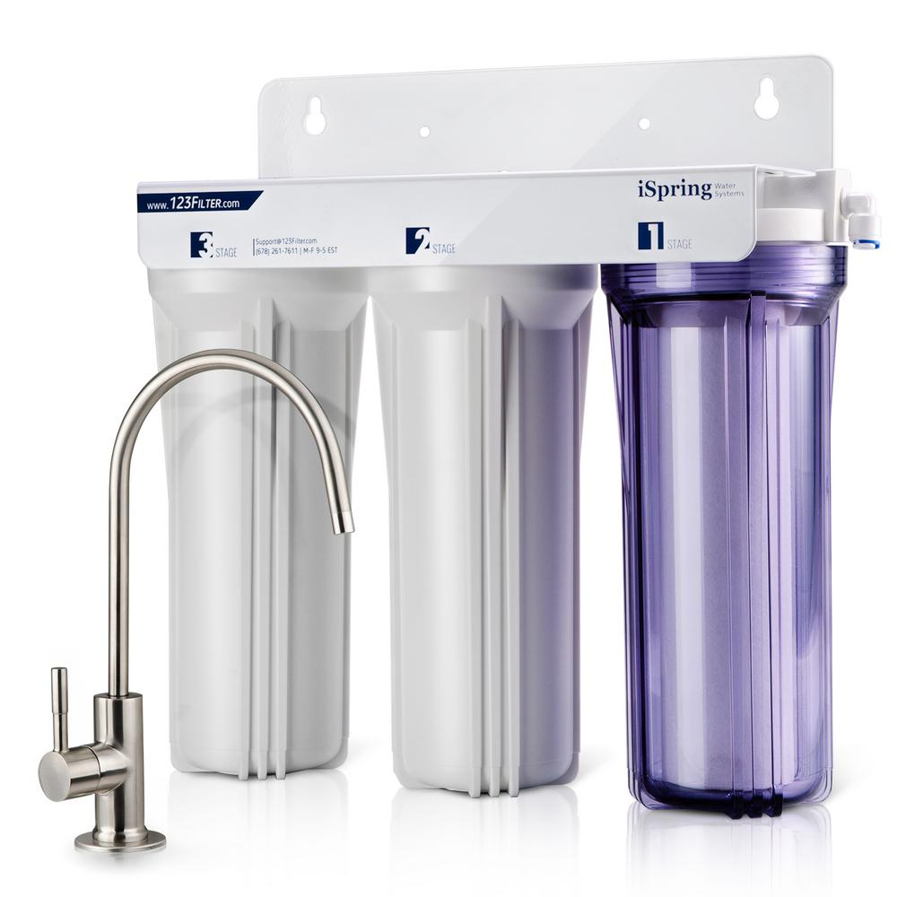 Ispring 3 Stage Under Sink High Capacity Tankless Drinking Water Filtration System Includes Sediment 2x Cto Carbon Block Filters
