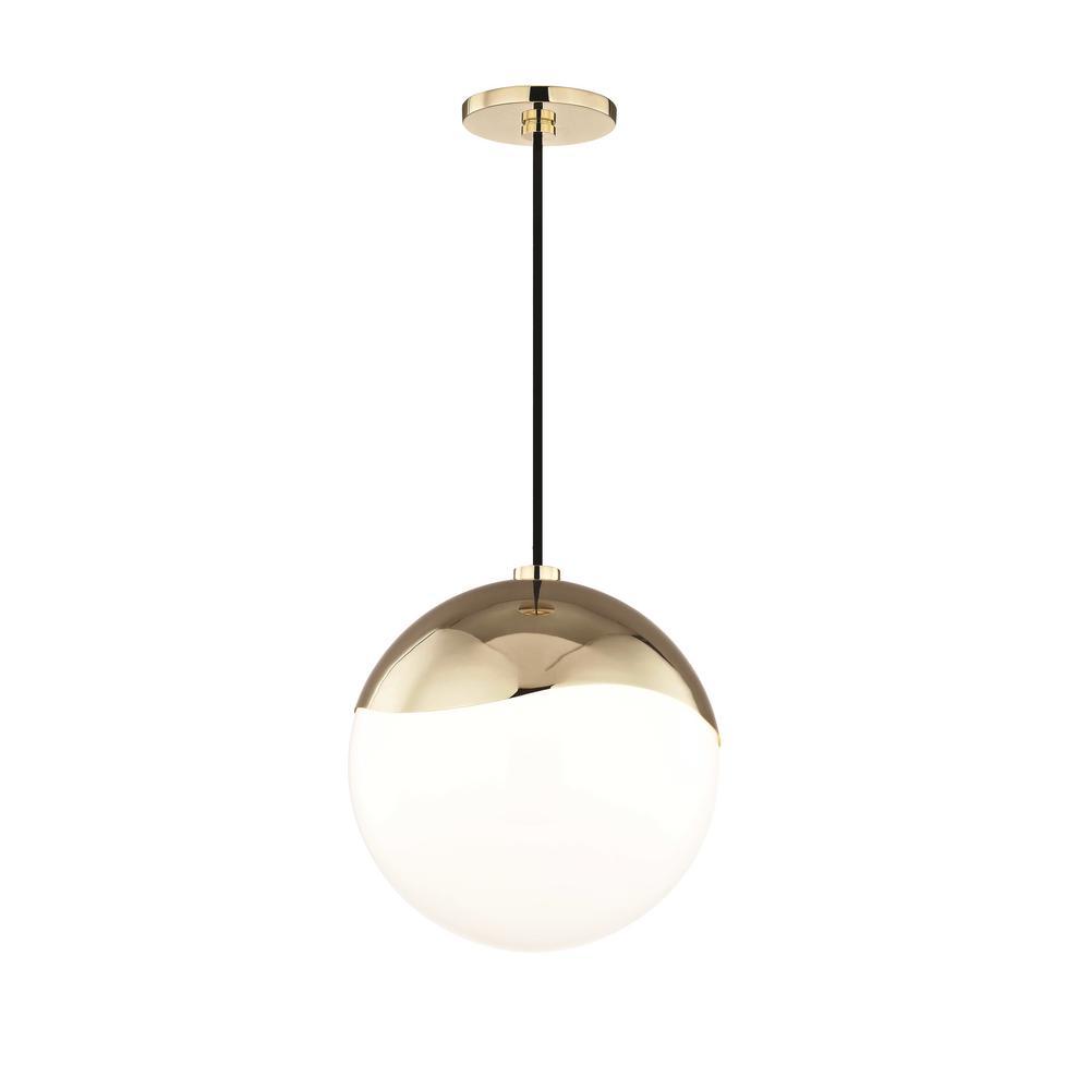 Ella 1-Light Polished Brass Large Pendant with Opal Glossy Glass