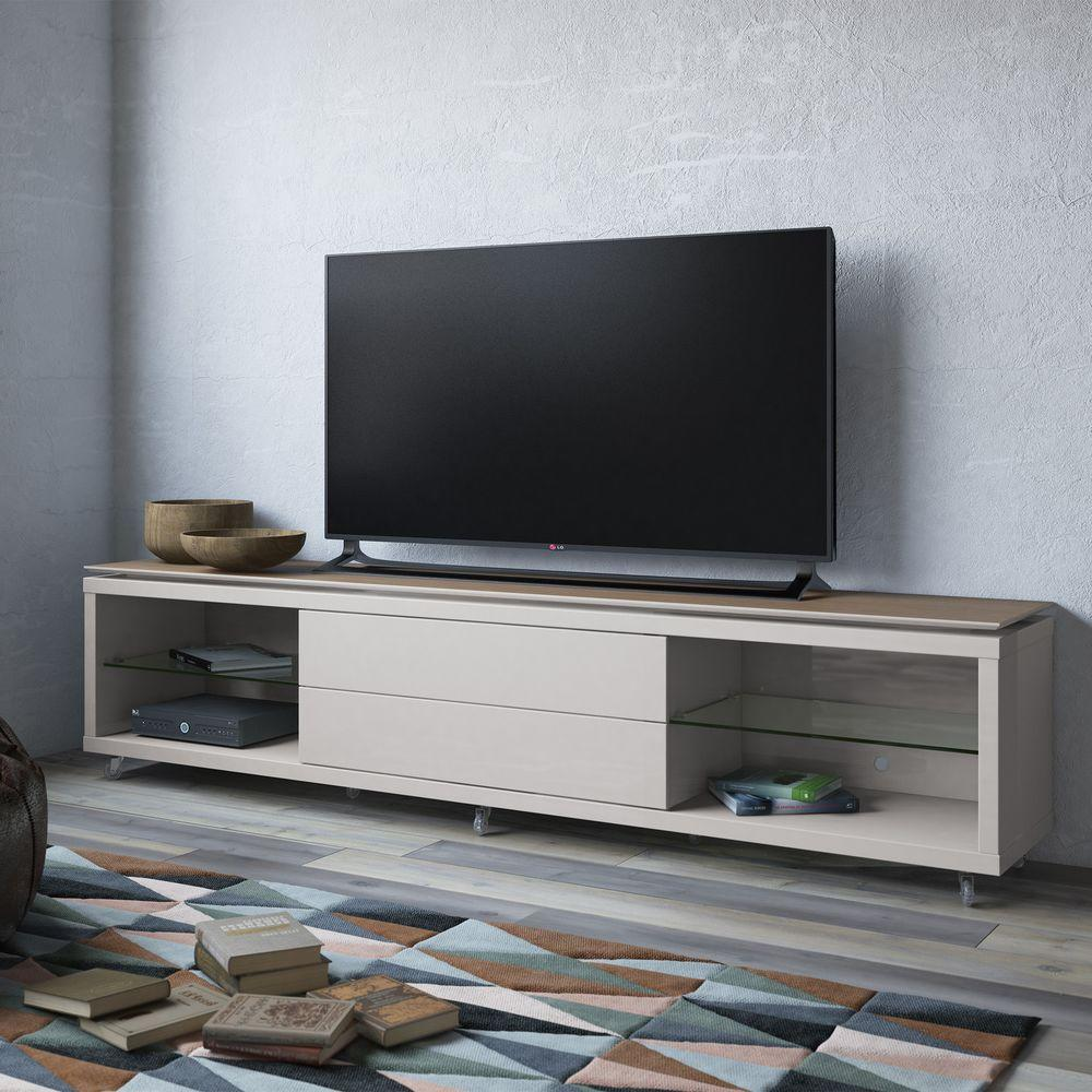 Manhattan Comfort Lincoln Maple Cream And Off White Storage Entertainment  Center