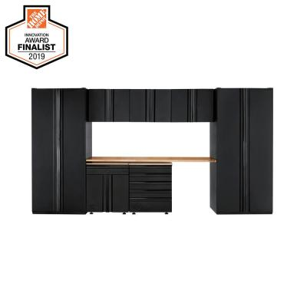 Heavy Duty Welded 156 in. W x 81 in. H x 24 in. D Steel Garage Cabinet Set in Black (8-Piece)
