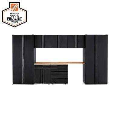 Heavy Duty Welded 156 in. W x 81 in. H x 24 in. D Steel Garage Cabinet Set in Black (8-Piece)