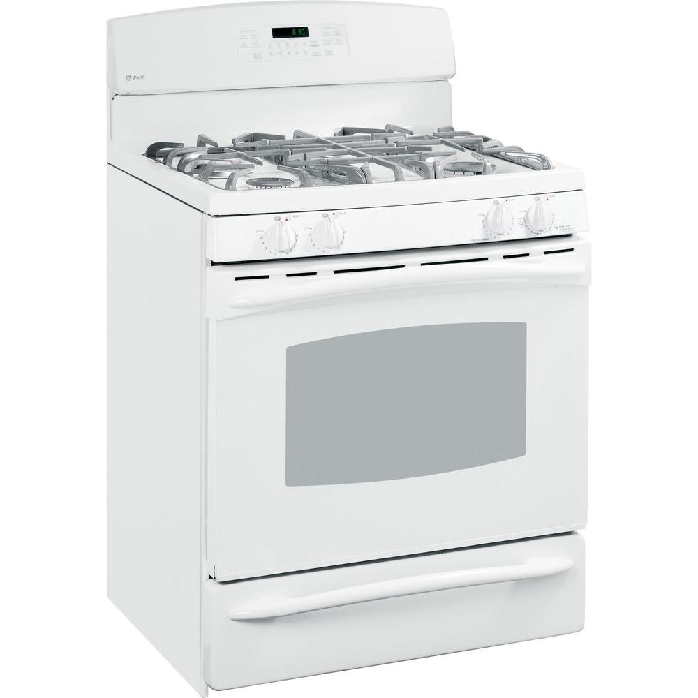 GE Profile 30 in. Self-Cleaning Freestanding Gas Range in White GE appliances provide up-to-date technology and exceptional quality to simplify the way you live. With a timeless appearance, this family of appliances is ideal for your family. And, coming from one of the most trusted names in America, you know that this entire selection of appliances is as advanced as it is practical. Color: White.