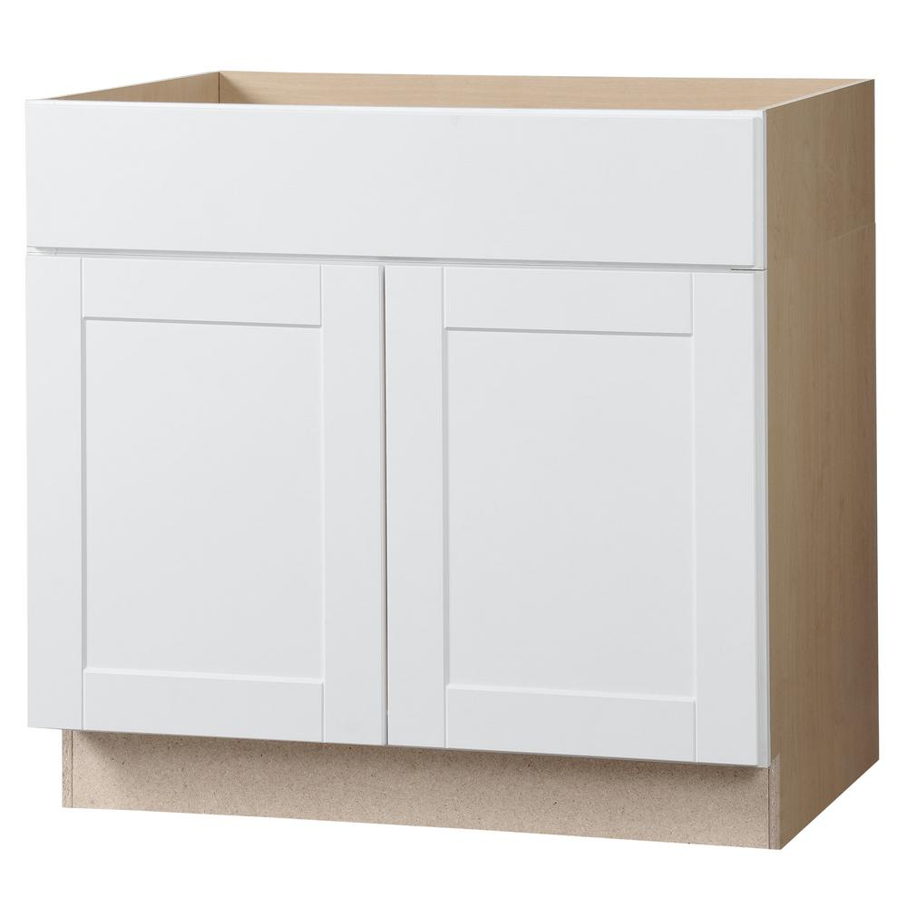 Hampton bay shaker assembled in accessible - Home depot kitchen sink cabinets ...