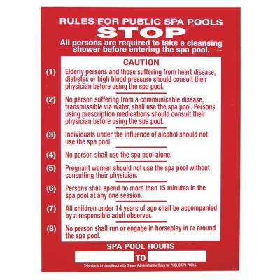 Residential or Commercial Swimming Pool and Spa Signs - Oregon Compliant, Rules for Public Spa
