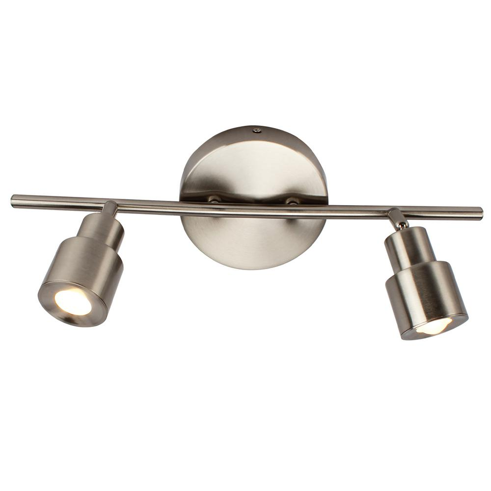 2 light brushed nickel integrated led flush mount ceiling and wall light