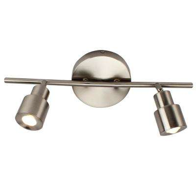 6 in. 2-Light Brushed Nickel Integrated LED Flush Mount Ceiling and Wall Light