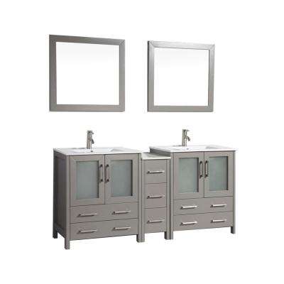 Brescia 72 in. W x 18 in. D x 36 in. H Bath Vanity in Grey with Vanity Top in White with White Basin and Mirror