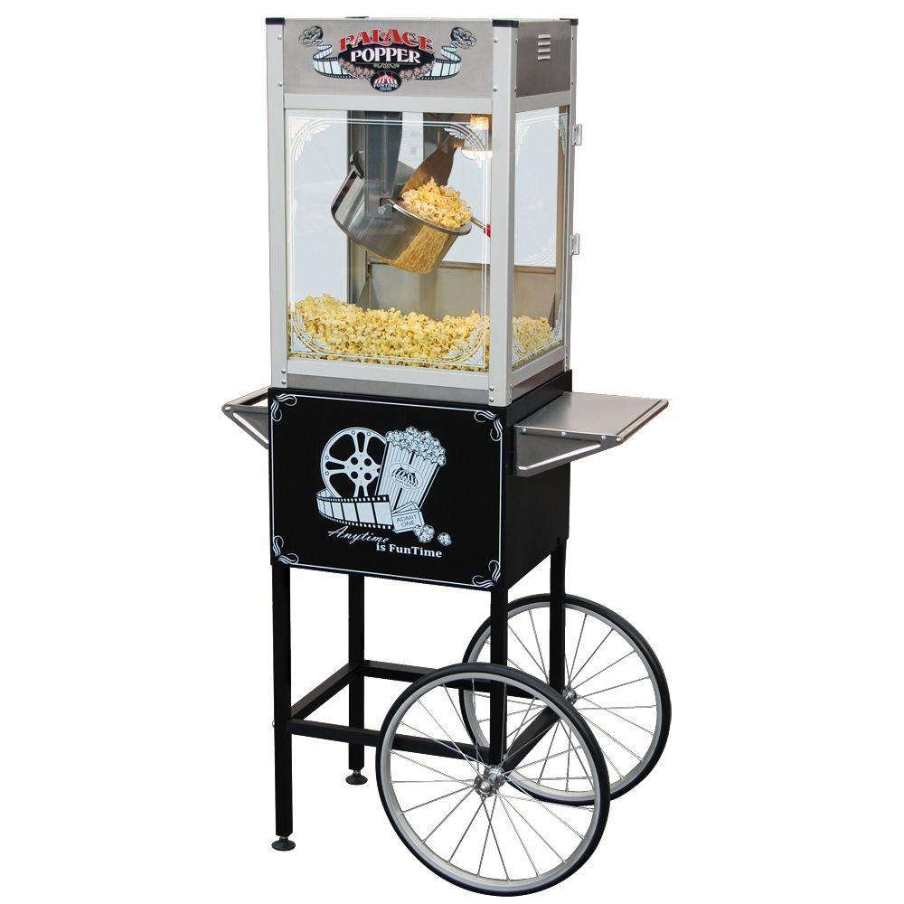 Funtime Palace 16 oz. Hot Oil Stainless Steel Popcorn Popper Machine with Cart-DISCONTINUED