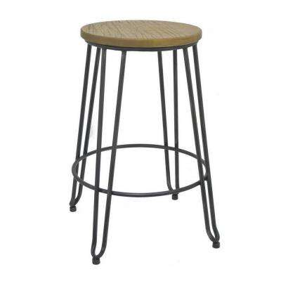 24.5 in. Black Metal and Wood Accent Stool