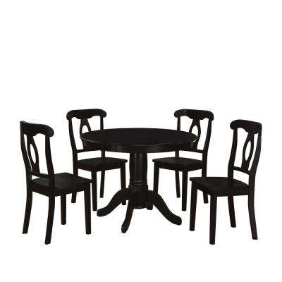 Alba 5-Piece Black Traditional Height Pedestal Dining Set