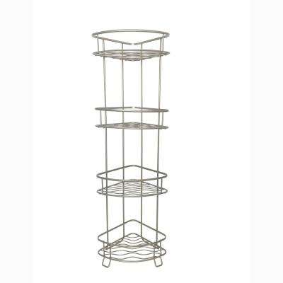 Jayden 19.8 in. W Space Saver Tower Shelf in Satin Nickel