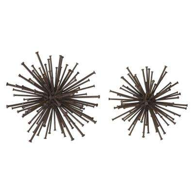 8.5 in. Nail Sculptures in Rust Bronze (Set of 2)