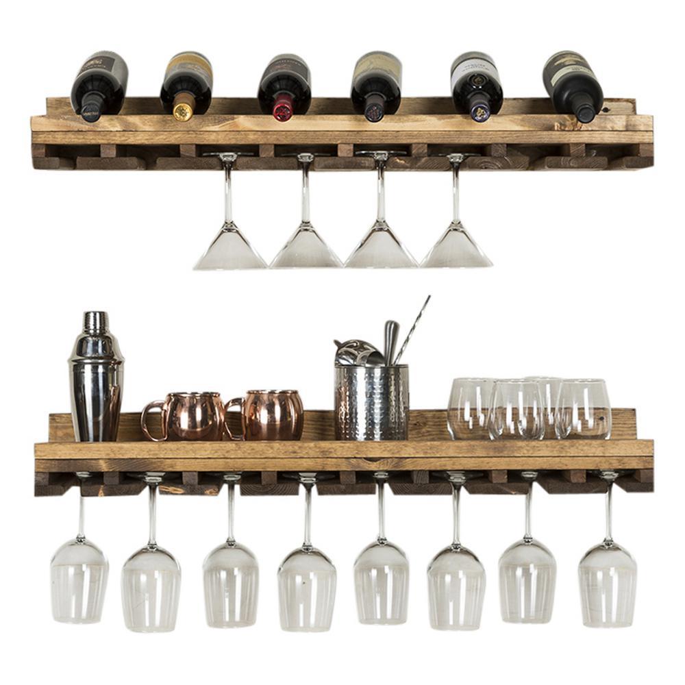 Rustic Luxe 36 in. W x 10 in. D Dark Walnut Stemware Decorative Shelves (Set of 2)