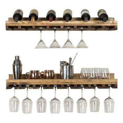 Rustic Luxe 36 in. W x 10 in. D Dark Walnut Stemware Decorative Shelves (Set of 2)