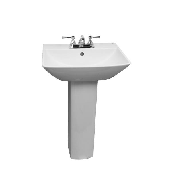 Barclay Products Summit 600 Pedestal Combo Bathroom Sink In White 3 774wh The Home Depot