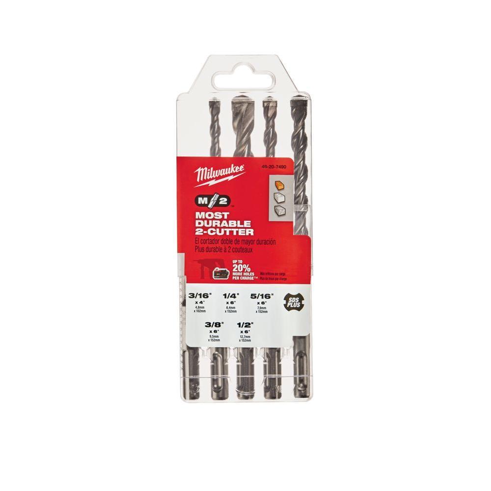 2-Cutter SDS-Plus Carbide Hammer Drill Bit Set (5-Piece)