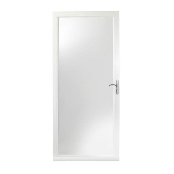 36 in. x 80 in. 3000 Series White Right-Hand Fullview Easy Install Aluminum Storm Door with Nickel Hardware