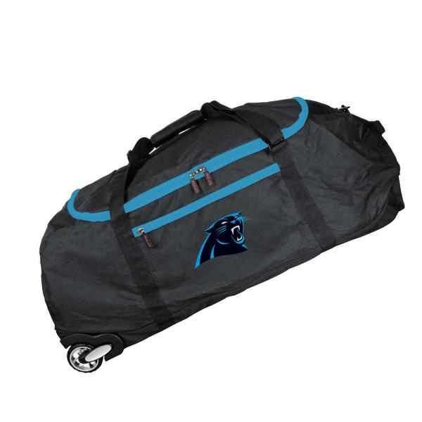 Denco NFL Carolina Panthers 36 in. Checked-In Rolling Duffel in Black