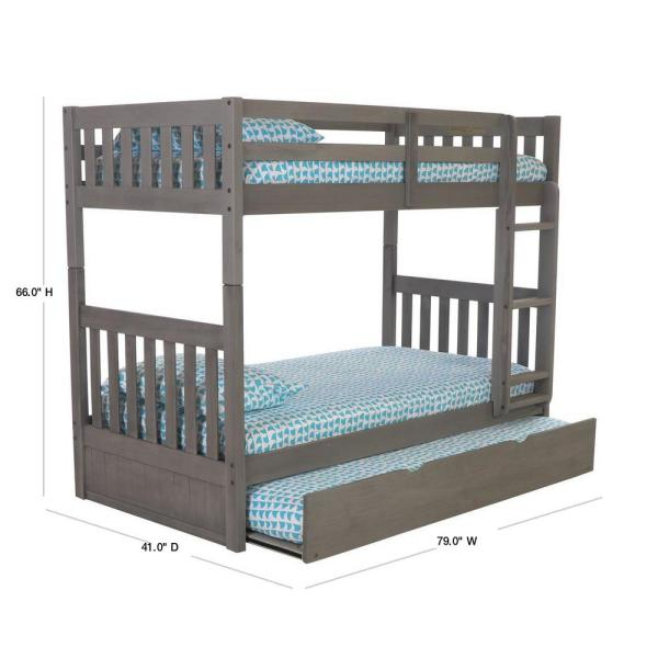 American Furniture Classics Twin Over Twin Solid In Charcoal Wood Bunk Bed Finish With Pull Out Twin Trundle 3210m Trun The Home Depot